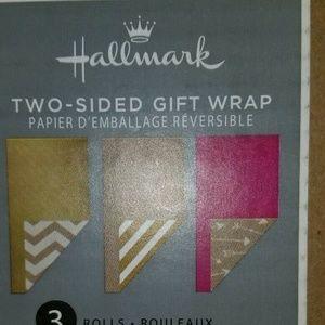 #103 NEW 4 rolls: Kraft gold Hallmark Revers Wrap